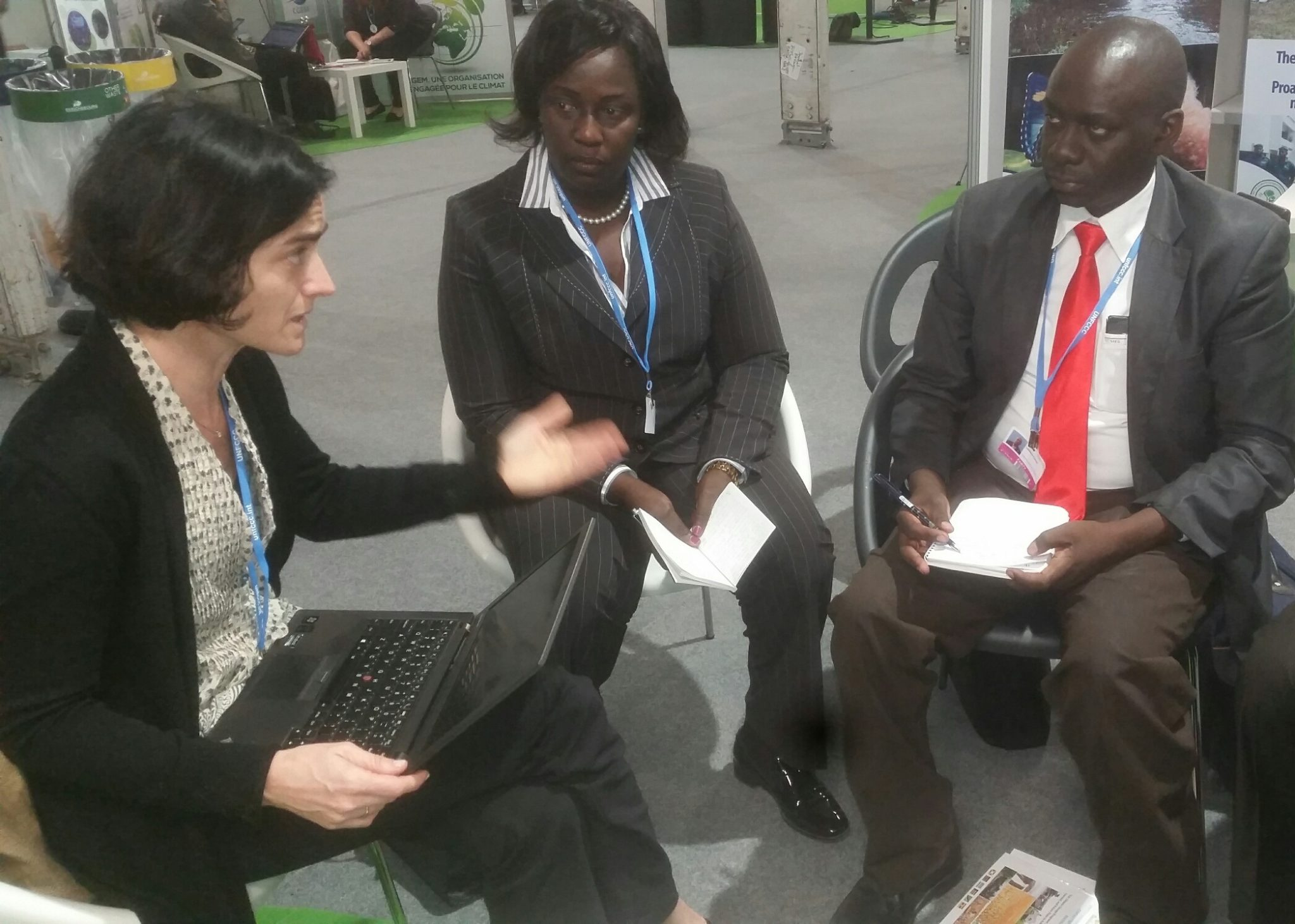 Hon. Eriyo meeting Ms. Silvia Mancini, the Operational Officer of the Washington-based Adaptation Fund to discuss progress on the accreditation of EAC to the fund.