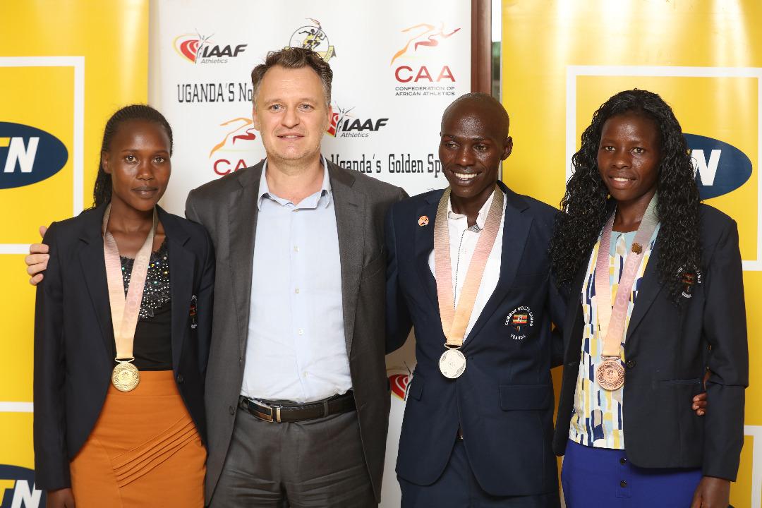 MTN Uganda leadership hosts 2018 CWG Gold Coast medalists