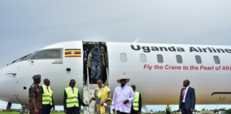 President Museveni and his wife Janet Museveni after having feel of new Uganda Airlines airplane